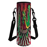 Water Bottle Sleeve Neoprene Bottle Cover,Cartoon,Video Game Design Inside The Castle with Dragon Fantasy World Medieval Illustration,Ruby Green,Fit for Most of Water Bottles