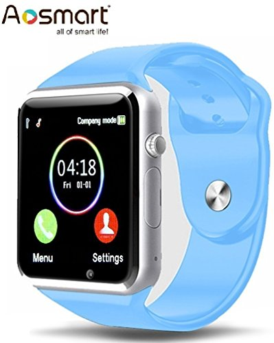 Aosmart Bluetooth Touch Screen Smart Wrist Watch Phone with Camera - Blue