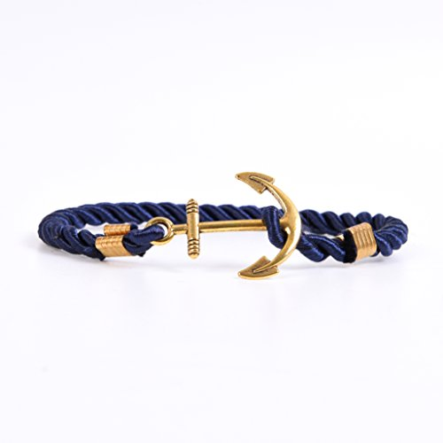 RIVERTREE Mens Gold Anchor Charm Bracelet Braided Weave Nylon Rope Wristband - Navy