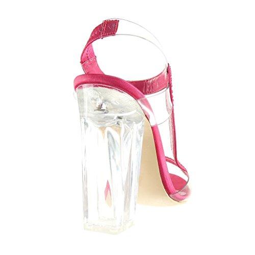 Angkorly - Scarpe da Moda sandali scarpe decollete sexy da sera donna strass trasparente Tacco a blocco tacco alto 12 CM - Fushia
