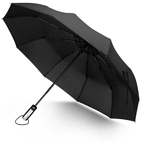 Junefish Travel Windproof Umbrella Unbreakable Automatic Compact Umbrellas Men/Women One Handed Operation, 10 Ribs Reinforced Windproof Umbrella, Stainless Steel & Fiberglass Construction