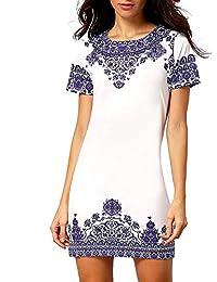 Floerns Women's Floral Print Short Sleeve Casual Top Shirt Dress