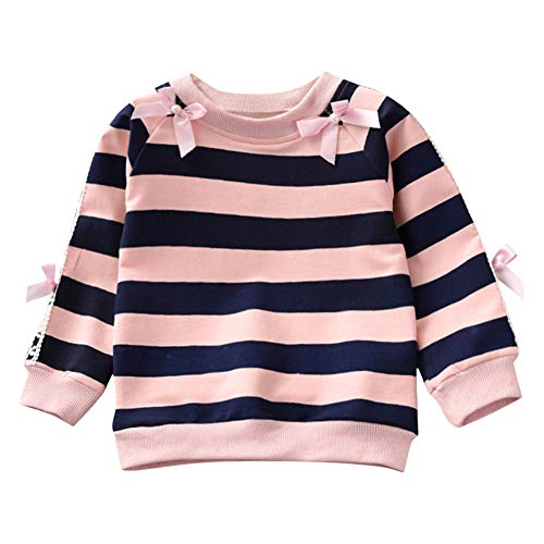 (Toddler Baby Girls 12 Months-5T Long Sleeve Butterfly Knot Striped Print Hoodie Tops Clothes)
