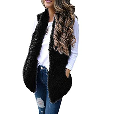 Sunhusing Women's Winter Soft Warm Plush Vest Trendy Sleeveless Waistcoat Jacket with Pocket