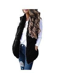 Amzeca Women Sexy Lady Faux Fur Solid Casual Sleeveless Warm Vest Waistcoat