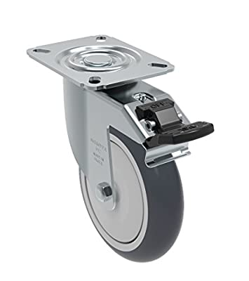 "Schioppa GL 512 TBE G L12 Series 5"" x 1-1/4"" Diameter Swivel Caster with Total Lock Brake, Non-Marking Thermoplastic Rubber Precision Ball Bearing Wheel, Plate 3-1/8"" x 4-1/8"" (Bolt Holes 3-1/8"" x 2-1/4""), 275 lb"