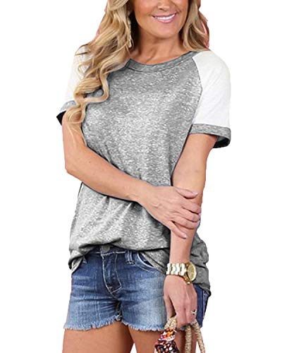 Womens Short Sleeve Tops Color Block Shirts Casual Tunic Blouse L Gray