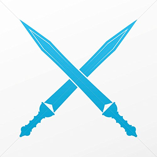 Warriors Various sizes Decals Decal Knight Cross Swords Decoration Bike Motorbike B Blue (5 X 5 Inches) ()