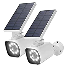 Solar Motion Sensor Light Outdoor JACKYLED 800 Lumen LED Solar Security Lights with Red Light Mode IP66 Waterproof Dim to Bright Outdoor Flood Lights for Porch Garden Patio Driveway Pathway Pack of 2