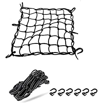 SOMTTON 2 Pack of Black 15X15 Motorcycle Cargo Net Heavy-Duty Stretches to 45 featuring 6 Adjustable Hooks /& Tight 2x2 Mesh for Motorcycles and ATVs