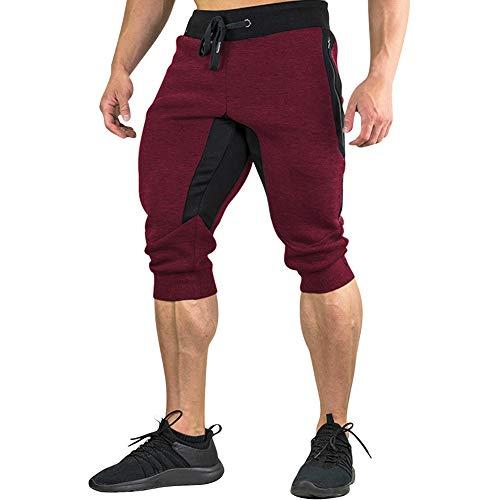 498fd2615ce1ab MECH-ENG Men's Workout 3/4 Jogger Pants Gym Shorts Zipper Pocket(Red