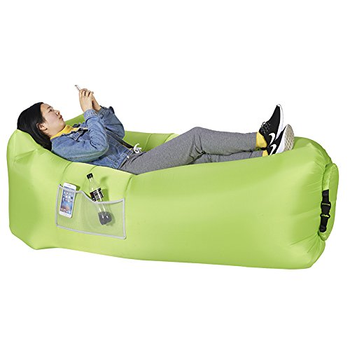 Armati Inflatable Lounger Patented Comfortable Headrest, Indoor or Outdoor Air Sofa, Camp Bedding, Hammock,Air Mattress with Carry Bag, Securing Stake and Bottle Opener (apple green)