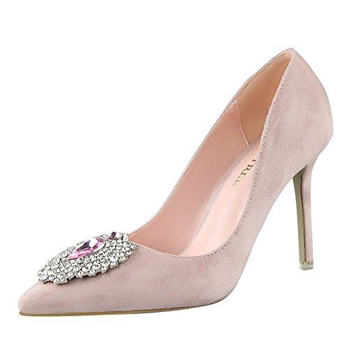 Hydne Women's Fashionable Korean Elegant Rhinestone Suede Leather Thin High Heels Shoes(38 M EU/7.5 B(M) US, Pink)