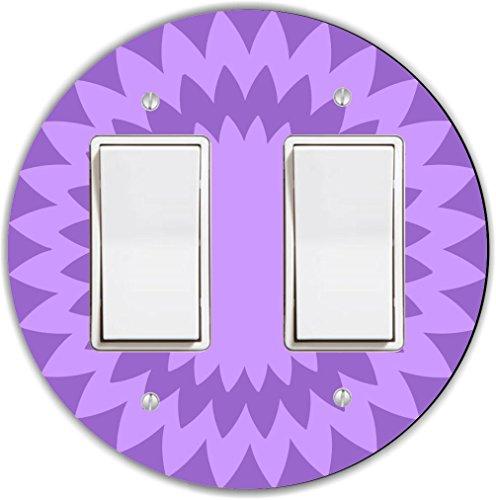 Rikki Knight RND-LSPROCKDBL-142 Spiral Round Double Rocker Light Switch Plate, Violet/Purple by Rikki Knight