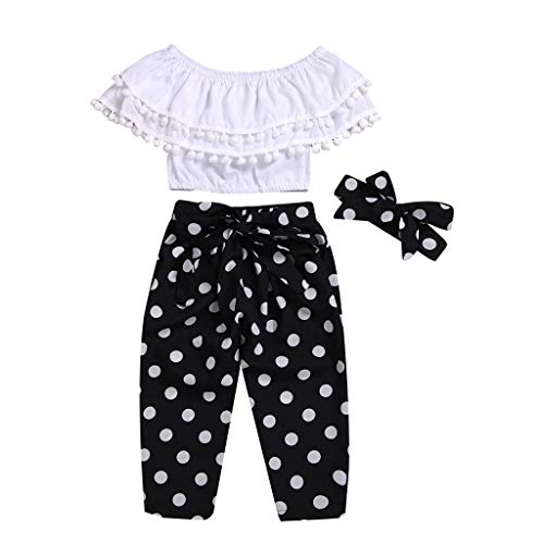 Little Girl Summer Sets,Jchen Baby Girls Off Shoulder Tassel Crop Tops+Polka Dot Pants Bowknot Princess Outfits for 1-6 Yrs (Age:3-4 Years Old, Black)