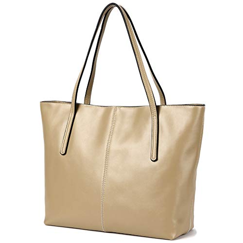 Medium Leather Tote - CHERRY CHICK Women's Genuine Leather Tote Large Purse Ideal for Autumn (Creamy Beige-2152)