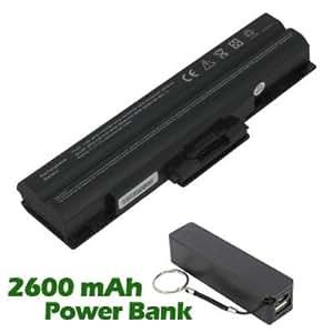 Battpit Bateria de repuesto para portátiles Sony VAIO VGN-FW270J (4400 mah) con 2600mAh Banco de energía/batería externa (negro) para Smartphone