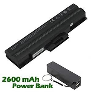 Battpit Bateria de repuesto para portátiles Sony VAIO VGN-AW150J (4400 mah) con 2600mAh Banco de energía / batería externa (negro) para Smartphone