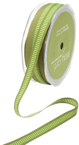 May Arts 3/8-Inch Wide Ribbon, Olive Grosgrain with Parrot Green Lines