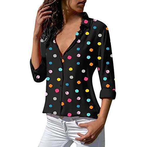 12 Eyelets Piece (Women Loose Casual Polka Dot Summer Shirt Long Sleeve T- Shirt Blouse Tronet Summer Tops for Women 2019)