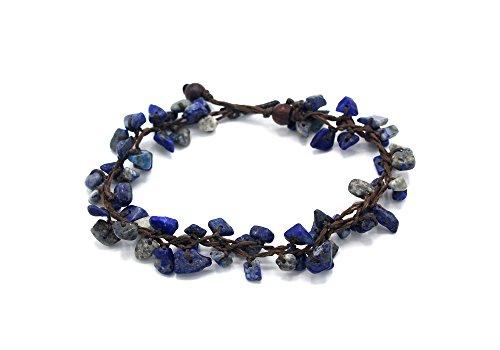 MGD, Navy Blue Lapiz Lazuli Chip Bead Anklet, 25 CM w/ 1 Inch Extend 3-Strand Anklet, Wrap Anklet, Women Fashion Jewelry, JB-0393A ()