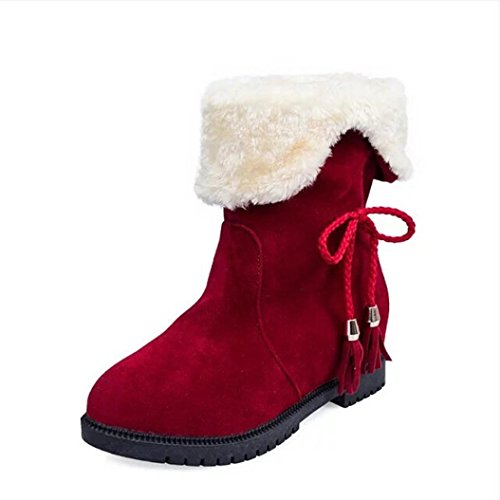 Women Snow Boots, Ladies Fashion Winter Ankle Boots Shoes Red