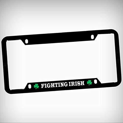 (Fighting Irish Zinc Metal Tag Holder Car Auto License Plate Frame Decorative Border - Black Sign for Home Garage Office Decor )