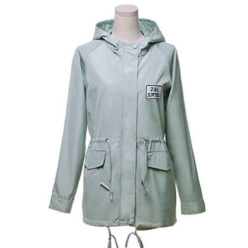 Larga Ocio Coat Honghu Chaquetas Small Claro Abrigos Encapuchado Invierno Verde Outwear Taille Mujer Manga Otoño E Casual XwwqAxFBt