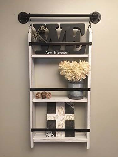 Amazon Com Chippy Paint Ladder Shelf Distressed White