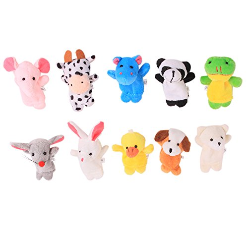 Dolland 10pcs Different Cartoon Animal Finger Puppets Soft Velvet Dolls Props Educational Toys