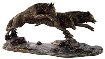 "Top Collection H 6.5"" L 14"" Wolves on The Run Statue Designed by Jody Bergsma in Cold Cast Bronze -Wolf Figurine"
