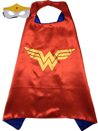 Superhero or Princess CAPE & MASK SET Kids Childrens Halloween Costume (Red & Blue (Wonder Woman))