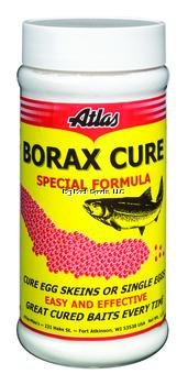 Atlas Mike's Bottle of Natural Bprax Cure for Cureing Your Own Salmon Fishing Bait Eggs, Yellow