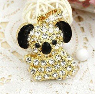 Crystal Diamond Koala Necklace Golden