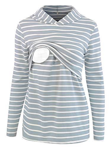 Stripe Tees Tops Hoodie (BBHoping Women's Stripe Nursing Hoodie Long Sleeves Casual Nursing Tops Breastfeeding Clothes)