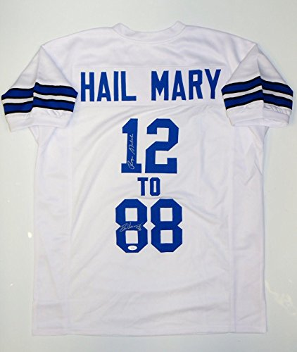 Hail-Mary-Roger-Staubach-Drew-Pearson-Autographed-White-Jersey-Autographed-NFL-Jerseys