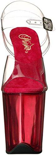 r red Femme Transparent Flamingo 808t Pleaser C Tinted clr Sandales Plateforme avdI0
