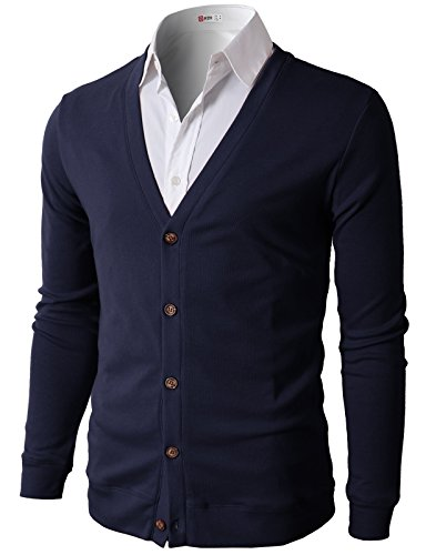 (H2H Men Slim Fit Basic Long Sleeve V Neck Button Cardigan Navy US 3XL/Asia 4XL (CMOCAL012))