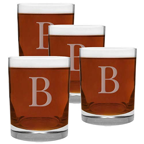 4 Piece Glass Set Engraved with B-Letter Monogram, 13.5-Ounce
