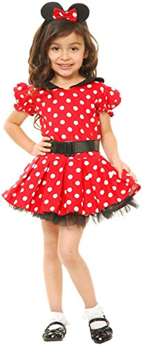 Charades Little Miss Mouse Girl's Costume Dress, Red/White, X-Small ()