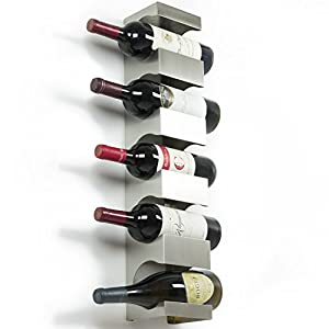 Stainless Steel Wine Rack - Wide Multi Bottle Holder with Top Shelf Section - Modern Art Design - Wall Mount (Holds 5 Bottles)