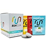 RUN GUM Variety Pack Energy Gum 50mg Caffeine Taurine & B-Vitamins per Piece, 24 Pieces (Pack of 12 Assorted Flavors), 2 Pieces = 1 Coffee or Energy Drink, Sugar Free, Zero Calories