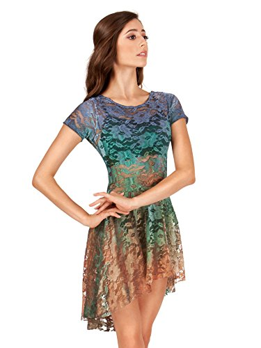 Adult Hand Painted Lace Cap Sleeve Dress WC208NFRS Navy/Forest/Rust ()