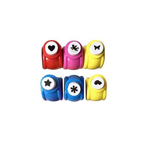 TOYMYTOY 6pcs Mini Craft Paper Punch 1-Inch 2.5cm Handmade Crafts Scrapbooking Paper Punch Tool for DIY Gift Card Making (Pentagram, Scalewing, Love Heart, Car, Snowflake and Angel) ()