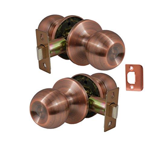 - Constructor CON4314 Chronos Passage Door Lever Lock Knob Handle Set, Antique Copper