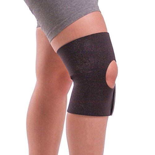 BraceAbility Nonslip Knee Support | Comfortable No-Sweat Womens and Mens Knee Wrap Brace for Sore Knees, Sprains, Arthritis Joint Pain Relief while Walking, Working Out, Sitting & Standing (Medium)