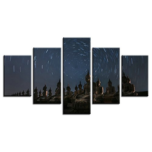 CrmArt - Buddha Statue Night Starry Sky Time-lapse 5 Panels Giclee Canvas Prints Wall Art Landscape Pictures Photo Paintings for Home Decorations Framed Grace Artwork - 20' Buddha Statue