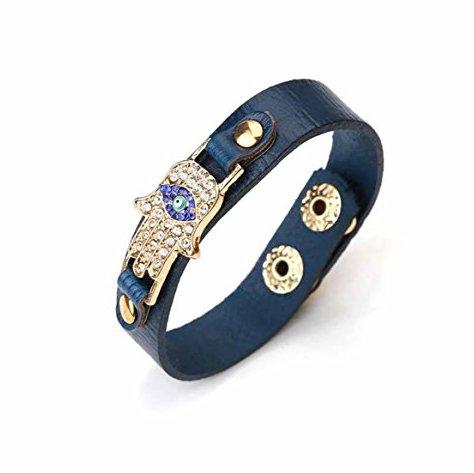 2942Blue LuckyEye Evil-Eye-Leather-Hamsa-Bracelet (Mens Designer Bracelet)