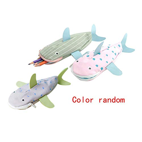 Students Cute Shark Shape Pencil Case Canvas Animal Pen Pouch(Color Random) by Queena