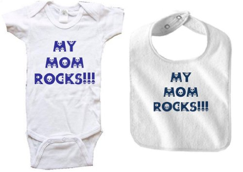 MY MOM ROCKS - Skulls - 2 Piece Baby-Set - White Baby One Piece Bodysuit / Baby T-shirt and White Bib - size Small (6-12M) Inter Milan Football Shirts